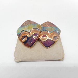 Jewelry - Chunky Iridescent Metallic Ceramic Earrings
